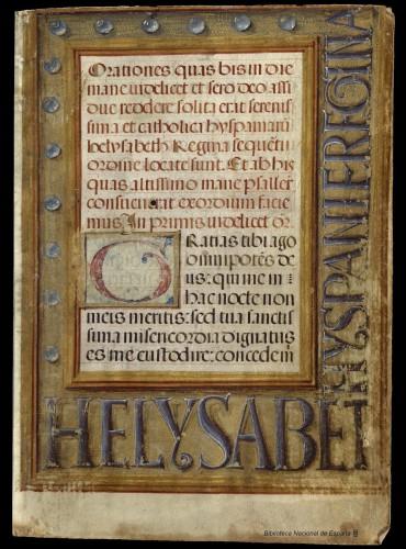 Primera página del devocionario de Isabel de Valois