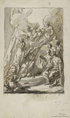 Antonio González Velázquez: Alegoría del Triunfo de la Monarquía Española (1782). Boceto, BNE