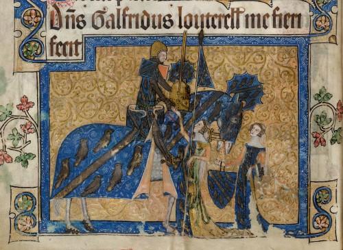 Sir Geoffrey Luttrell, representado en el salterio de su nombre