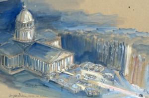 ©Patrick Legrand - Panthéonisation André Malraux / aquarelle préparatoire