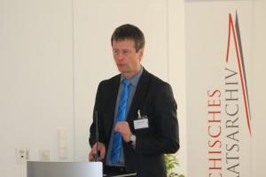 Dr. Christian Keitel (Landesarchiv B-W) beim Vortrag (Foto: Österreichisches Staatsarchiv)