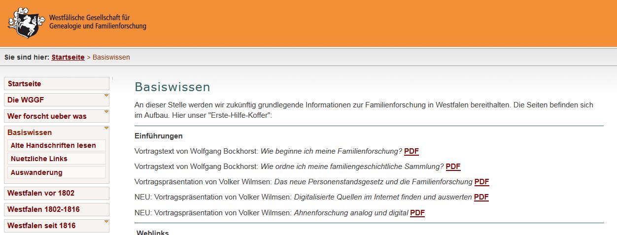Screenshot der Internetseiten der WGGF - hier