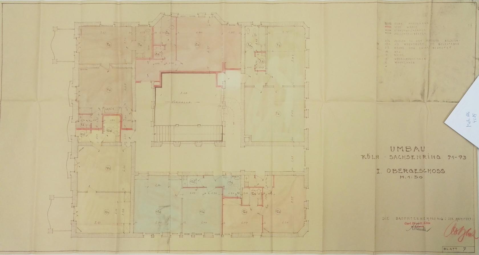Mels.Ak, Nr. 4289: Plan des 1. OG Sachsenring 91-93, Köln