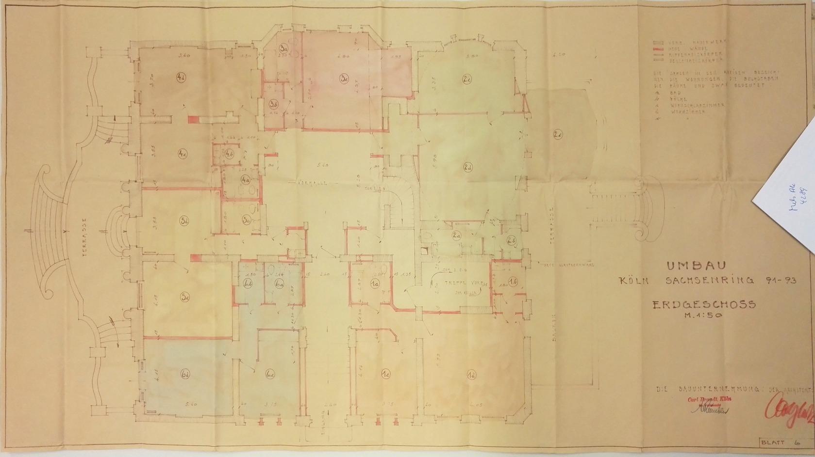 Mels.Ak, Nr. 4289: Plan des EG Sachsenring 91-93, Köln