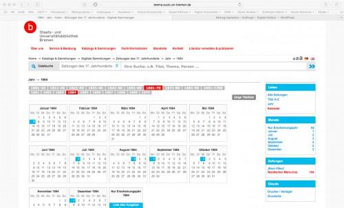 Screenshot der Seite http://brema.suub.uni-bremen.de/zeitungen17/nav/index/calendar?query=1664&facets=relatedItem%3D967576 – abgerufen am 30.05.2015