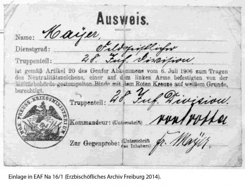 Eingeklebter Ausweis aus EAF Na 16/1.