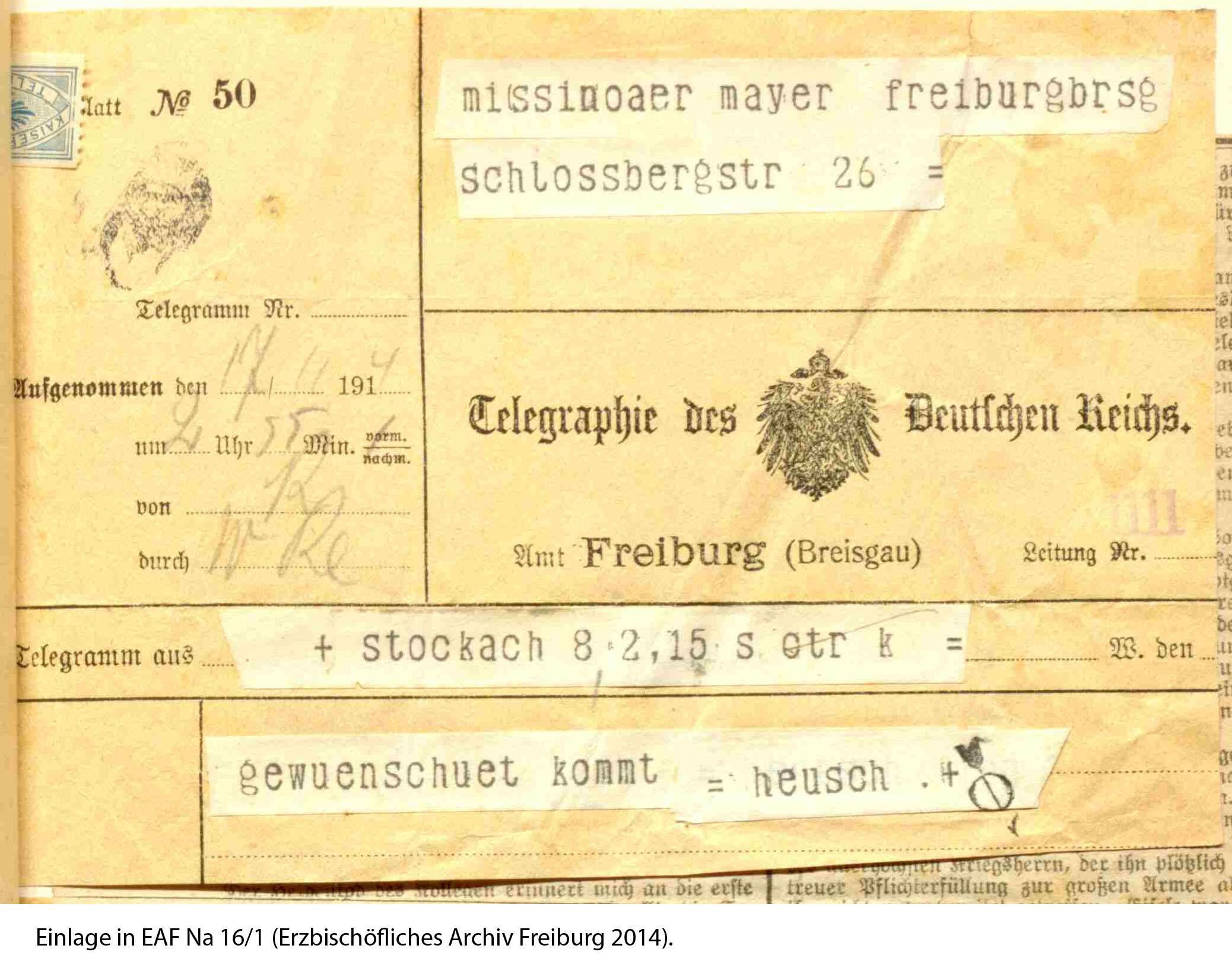 Telegramm mit Einberufung