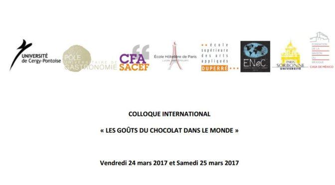 24 – 25 mars 2017 : Colloque Les goûts du chocolat dans le monde