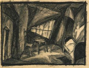 """Abb. 3: """"Das Kabinett des Dr. Caligari"""": """"Mordzimmer"""" von Hermann Warm; IMG_0114 Inv.Nr. 198033_F251_001 Deutsche Kinemathek Berlin"""