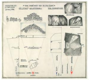 """Abb. 4: """"Das Kabinett des Dr. Caligari"""": Die Stadt Holstenwall"""" und """"Das Mordzimmer"""" Architekturskizze von Hermann Warm; IMG_1257 Inv.Nr. 198033_F251_114 Deutsche Kinemathek B"""