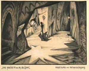 """Abb. 7: """"Das Kabinett des Dr. Caligari"""": """"Rathausplatz mit Markteingang"""" von Hermann Warm; IMG_0108 Inv.Nr. 198033_F251_007 Deutsche Kinemathek Berlin"""