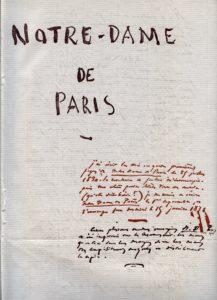Première page du manuscrit de Notre-Dame de Paris de Victor Hugo. Reproduction issue de l'Encyclopédie Autodidactique Quillet, Tome 3, 1960. Original à la Bibliothèque Nationale.