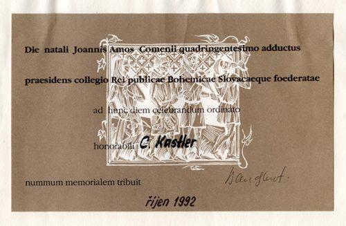 Le certificat de la médaille Comenius décernée à C. Kastler Photographie de Lioudmila Kastler