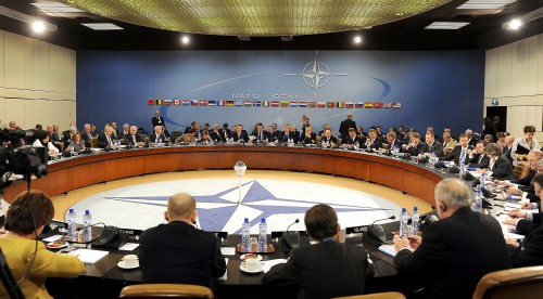 NATO Ministers of Defense and of Foreign Affairs meet at NATO headquarters in Brussels  http://en.wikipedia.org/wiki/File:NATO_Ministers_of_Defense_and_of_Foreign_Affairs_meet_at_NATO_headquarters_in_Brussels_2010.jpg