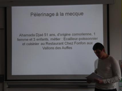 Restitution de l'enquête de terrain. Lycée Charles Péguy, classe de BTS Tourisme