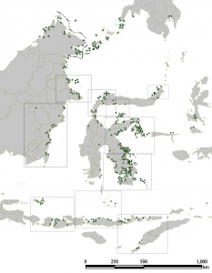 Distributions of the Bajo sea nomad villages (green spot) (source: Nagatsu 2007).