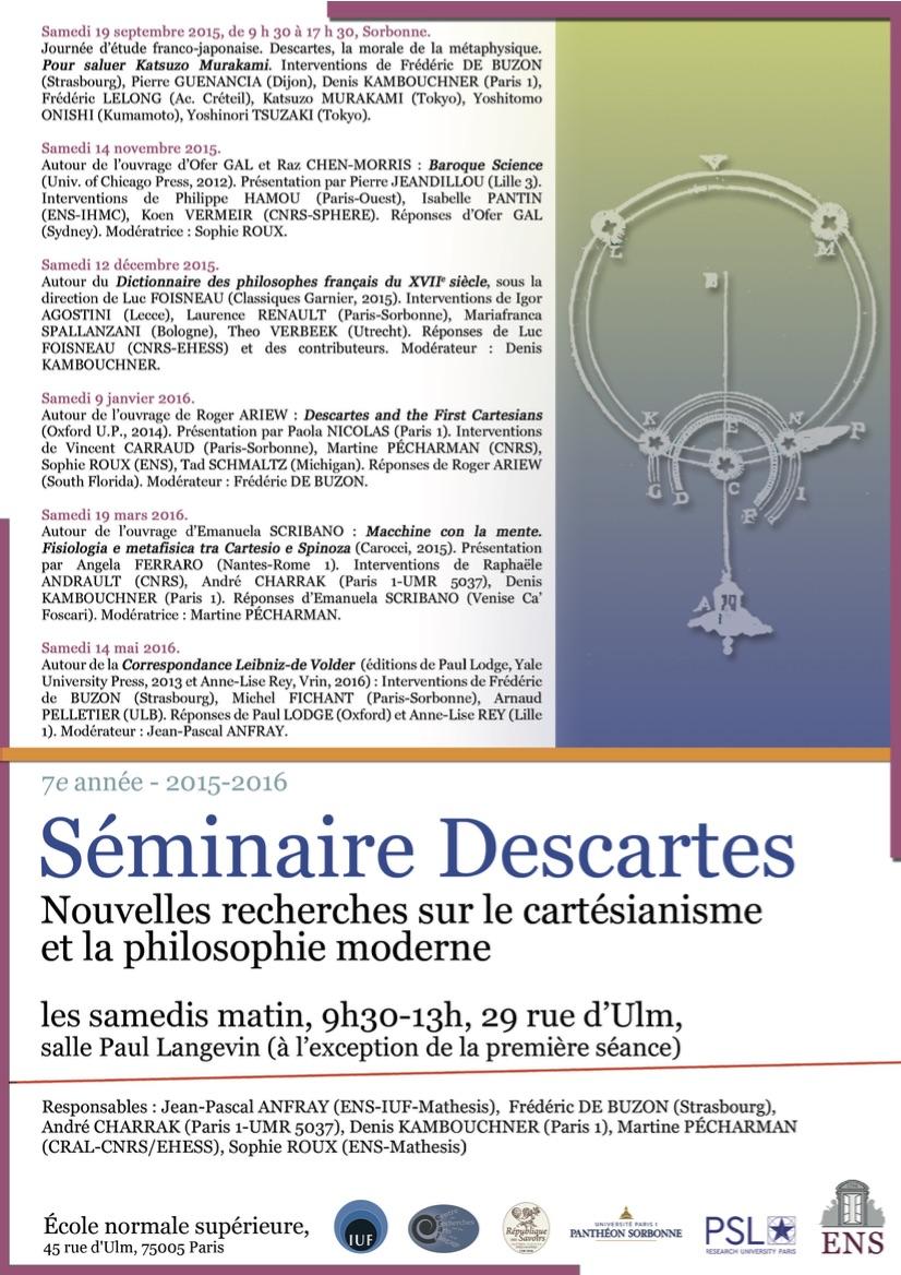 Octobre 2015 Affiche recherches cartésianisme