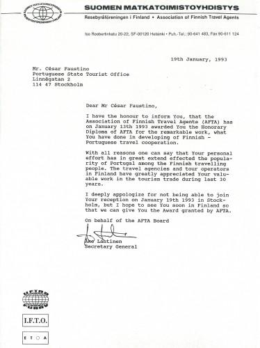 """Figura 1 – Carta da Associação de Agencias de Viagens da Finlândia, comunicando a atribuição do seu """"Diploma de Honra"""" ao ex-Diretor do CTP-Escandinávia (Janeiro, 1993)"""
