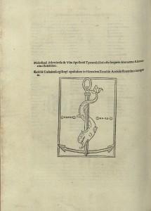 Pormenor de marca de impressor de Aldo Manuzio. [Epistole. Orazioni scelte], Bartolommeo de Alzano, Veneza, Aldo Manuzio, setembro 1500 (BNP INC. 1123)