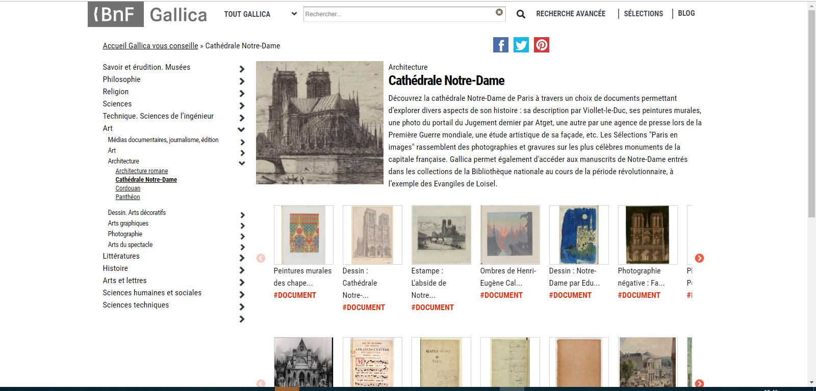 Página da Gallica sobre Notre-Dame