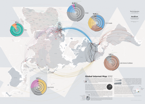 Mapa da internet global em 2012 - Imagem de infolet.it