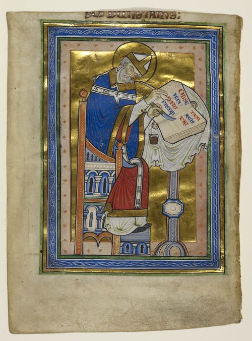 Full-page miniature of St Dunstan at work, from Smaragdus of St Mihiel's Expositio in Reglam S Benedicti, England (Canterbury), c. 1170 – c. 1180, Royal MS 10 A XIII, f. 2v - http://britishlibrary.typepad.co.uk/digitisedmanuscripts/2014/06/the-burden-of-writing-scribes-in-medieval-manuscripts.html
