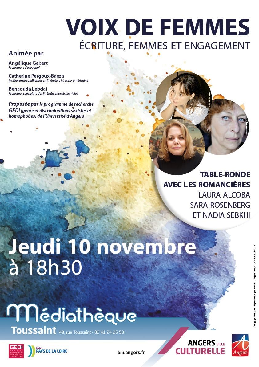 Journée d'Etude «Voix de femmes» Ecriture, femmes et engagement»- 10 novembre 2016