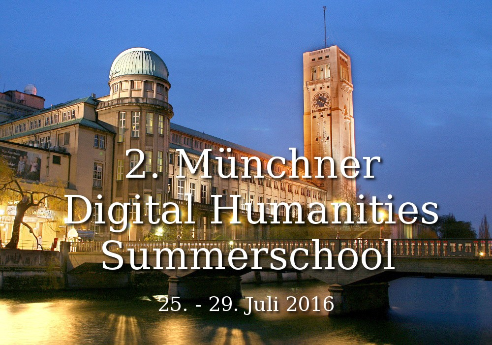 Bild vom Deutschen Museum mit Schriftzug: 2. Münchner Digital Humanities Summerschool, 25.-29.Juli 2016