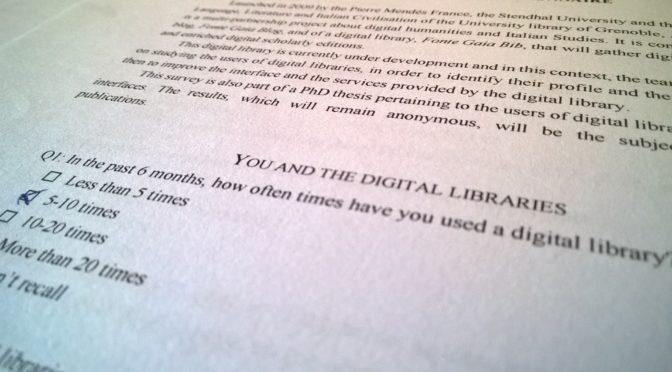 À la découverte des utilisateurs de bibliothèques numériques : Les résultats du questionnaire Fonte Gaia