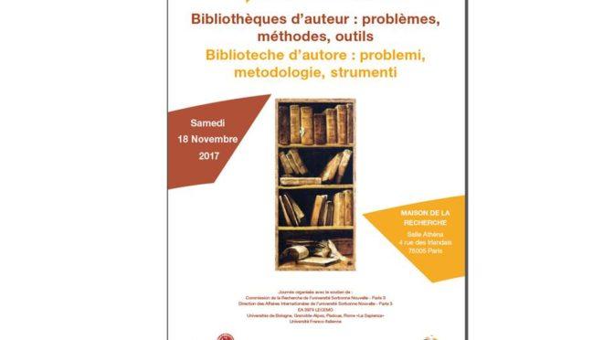 Journée d'études: Bibliothèques d'auteurs / biblioteche d'autori