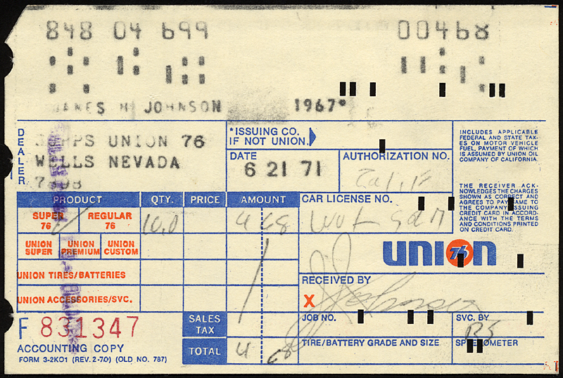 Union 76 Credit Card Receipt, 1971