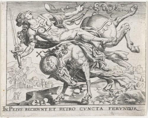 """Johann Théodore de Bry, """"Justitiae languor"""", dans Proscenium vitae humanae sive Emblematum secularium, 1611, II, p. 10, Rijksmuseum, Amsterdam."""