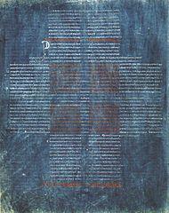 Biblia La Cava. Pergamino tintado en azul y escritura en rojo y blanco