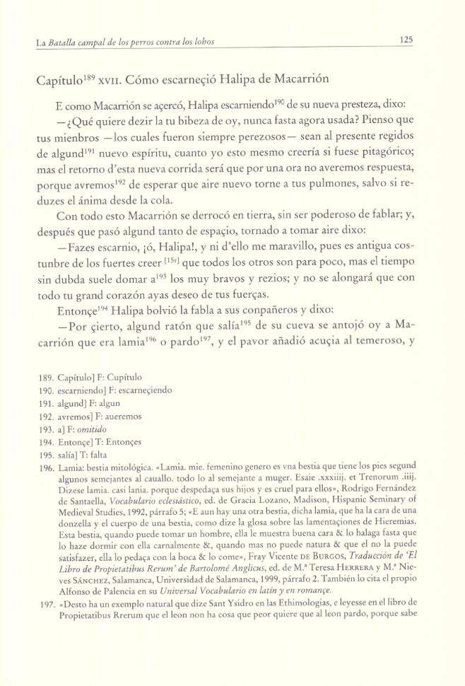 Página de la edición de la Batalla campas de los perros contra los lobos de Alfonso de PalenciaCMartín Romero 2013: 125)