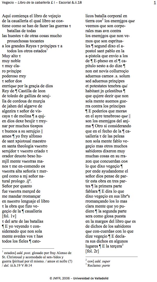 Fragmento de la transcripción de trabajo del  Libro de la caballería de Vegecio según ms. &.ii.18 de El Escorial