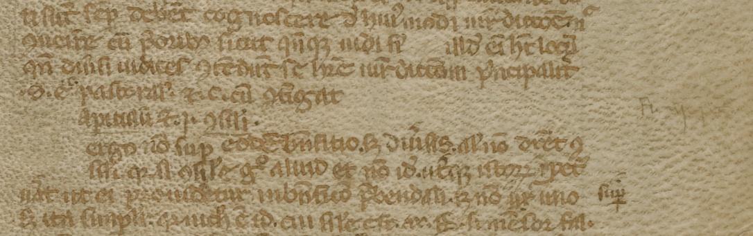 Comentario a los Decretales de Gregorio IX. Folio vendido por Sotheby'sEn el margen derecho, en letra muy fina: Fihis iii peciae