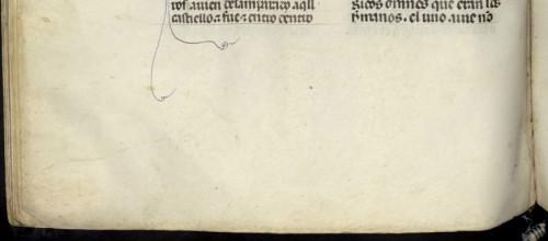 BNE, ms. 1189, fol. 234v (detalle)Debería presentar un reclamo, pero o el copista lo olvidó o ha desaparecido al encuadernarse el códice