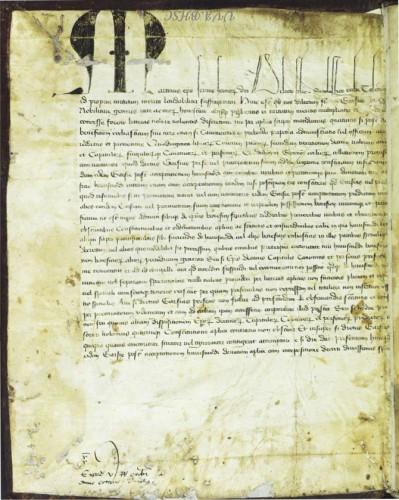 Carta Apostólica de Martín V en la encuadernación del ms. 251de la © Universidad de Valladolid