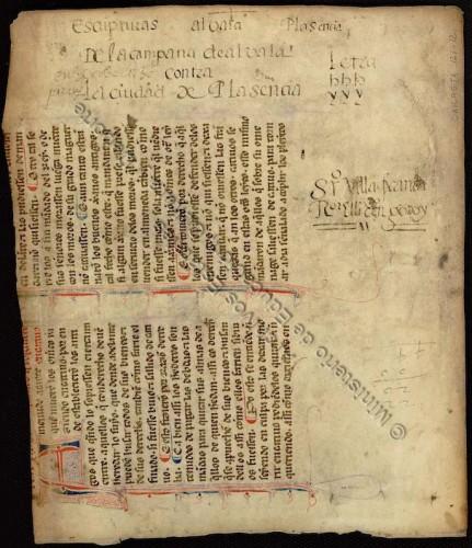 Pergamino 121-12(2) del Archivo de la Real Chancillería de ValladolidProcede de un códice de las Siete PartidasFoto tomada de PARES.