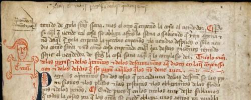 Detalle del fragmento de un códice de las Siete PartidasValladolid, ARChVa, perg. carp. 178-3