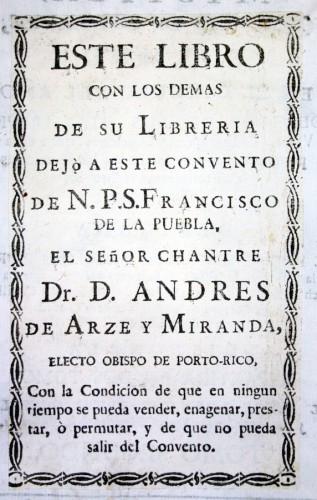 Ex-dono del Nuevo Mundo.Biblioteca José María LafraguaUniversidad Autónoma de Puebla (México)