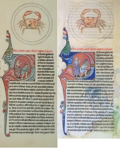 Lapidario de Alfonso X el Sabio. Escorial, Monasterio, ms. h.I.15 (detalle del folio 34ra)Lado izquierdo facsímil de 1881, lado derecho facsímil de 1982