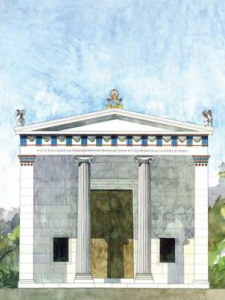 Figure 3 reconstitution de la façade de l'Andrôn B (Source : Thieme Th. et Löfvenberg F.)