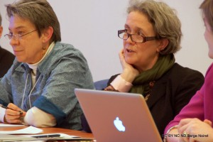 """Catherine Brice during the April 2013 NCPH Ottawa Conference, working group on """"Teaching Public History"""" coordinated by Thomas Cauvin"""