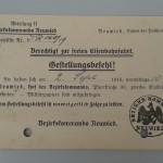 Gestellungsbefehl, 1918<br /> Stadtarchiv Linz am Rhein
