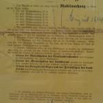 Bekanntmachung der Mobilmachung<br /> 1. August 1914,<br /> Stadtarchiv Linz am Rhein