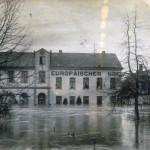 Hochwasser 1920er Jahre, Hotel Europäischer Hof<br /> Repro: Stadtarchiv Linz