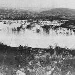 Hochwasser 1995, Blick vom Linzer Kaiserberg auf die Ahrmündung, Repro: Stadtarchiv Linz