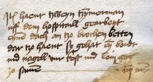 "Posten der Stadtrechnung von 1465/66, als Zimmerleute ""uff dem hospitaill gearbeyt eynen dach an tzo brochen betten""."