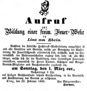 """Aufruf zur ersten Generalversammlung der Freiwilligen Feuerwehr in der """"Linzer Volkszeitung"""" vom 11. März 1885"""